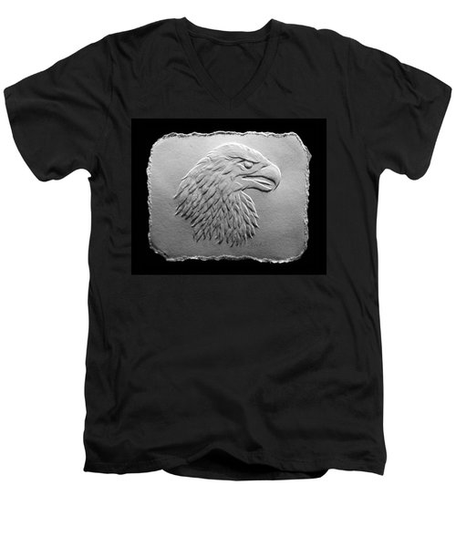 Eagle Head Relief Drawing Men's V-Neck T-Shirt