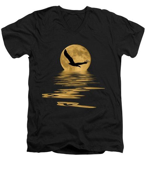 Eagle In The Moonlight Men's V-Neck T-Shirt by Shane Bechler