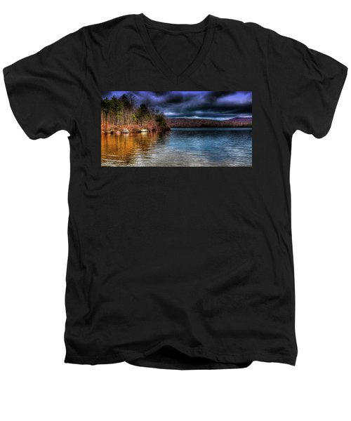 Men's V-Neck T-Shirt featuring the photograph Early May On Limekiln Lake by David Patterson