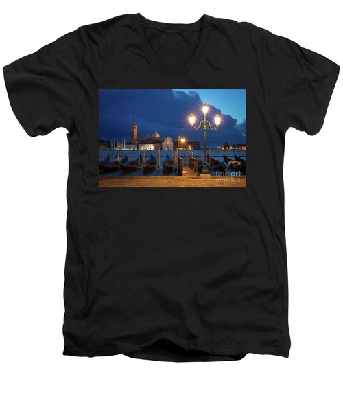 Men's V-Neck T-Shirt featuring the photograph Early Morning In Venice by Brian Jannsen