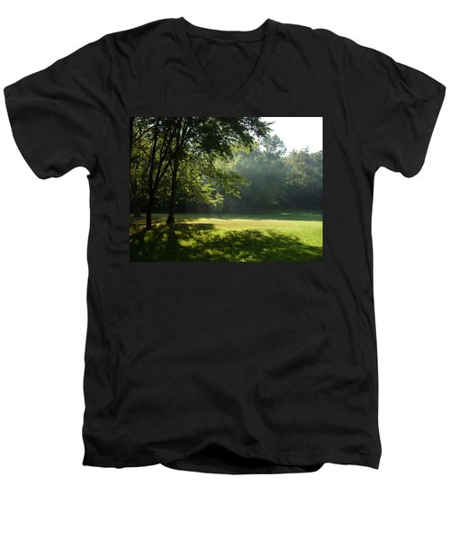Men's V-Neck T-Shirt featuring the photograph Early Morning Meadow by Cynthia Lassiter