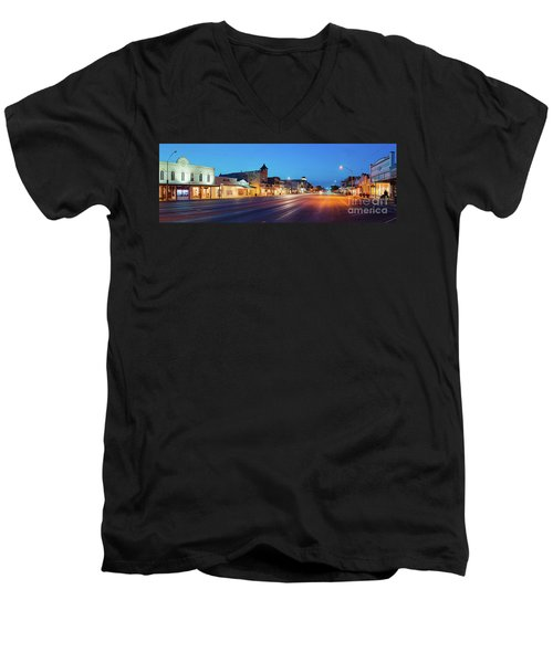 Early Morning Panorama Of Fredericksburg Main Street - Gillespie County Texas Hill Country Men's V-Neck T-Shirt