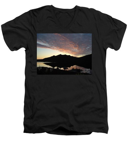 Men's V-Neck T-Shirt featuring the photograph Early Morning Red Sky by Barbara Griffin