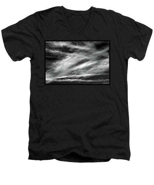 Men's V-Neck T-Shirt featuring the photograph Early Morning Sky. by Terence Davis