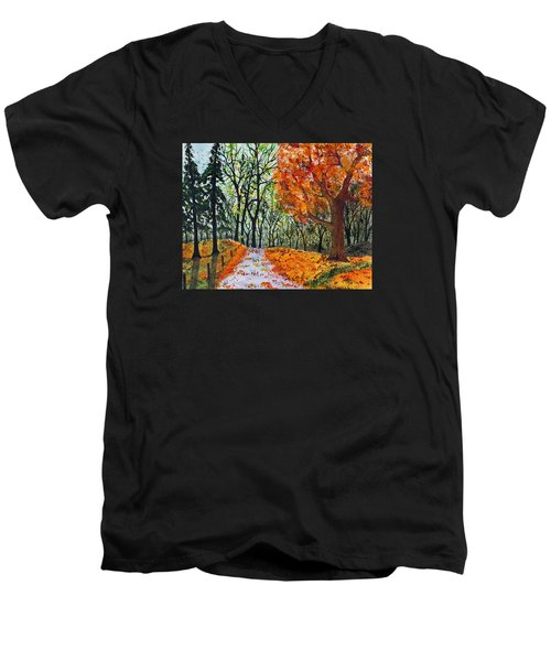 Early October Men's V-Neck T-Shirt by Jack G  Brauer