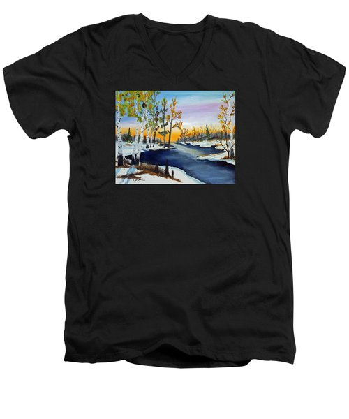 Early Snow Fall Men's V-Neck T-Shirt by Jack G Brauer