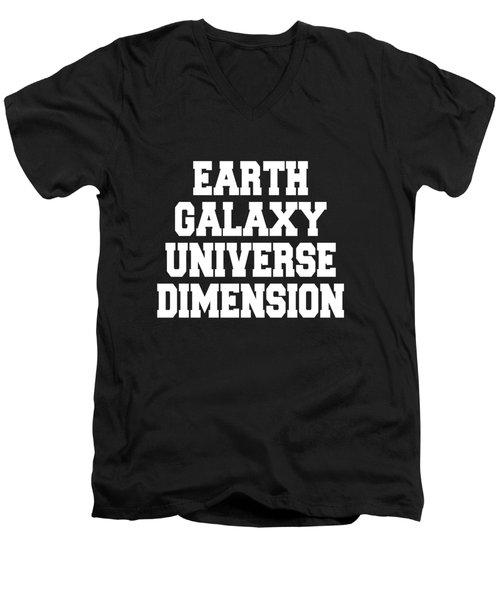 Earth Galaxy Universe Dimension Art Print Poster - 5th Dimension Men's V-Neck T-Shirt
