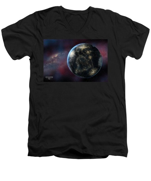 Earth One Day Men's V-Neck T-Shirt by David Collins
