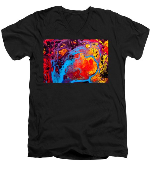 Earth Water Wind Fire - Abstract Painting Men's V-Neck T-Shirt by Modern Art Prints