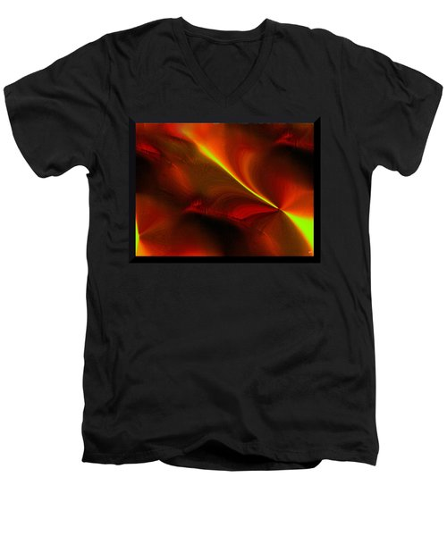 Men's V-Neck T-Shirt featuring the digital art Body Heat by Yul Olaivar