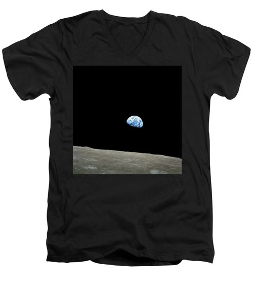 Earthrise - The Original Apollo 8 Color Photograph Men's V-Neck T-Shirt by Nasa