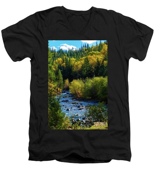 East Fork Autumn Men's V-Neck T-Shirt by Jason Coward