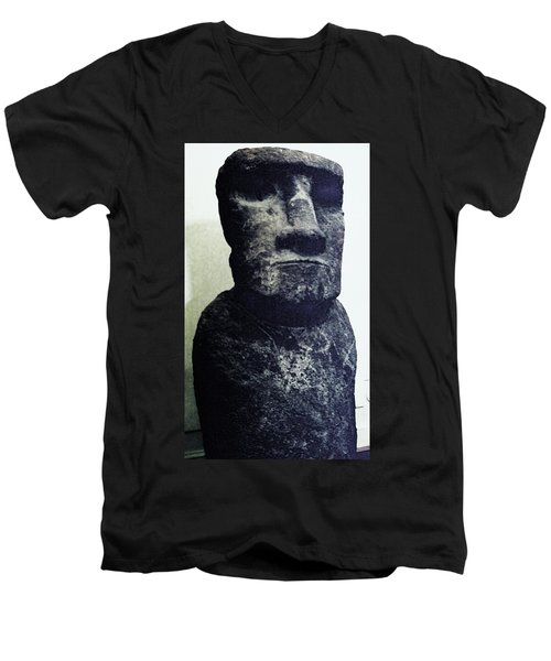 Men's V-Neck T-Shirt featuring the painting Easter Island Stone Statue by Eric  Schiabor