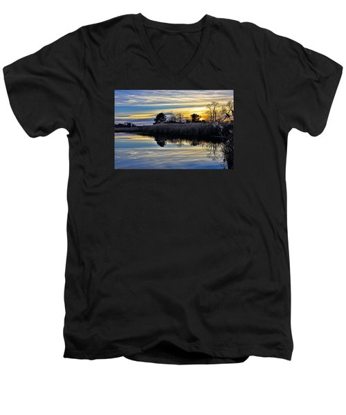 Men's V-Neck T-Shirt featuring the photograph Eastern Shore Sunset - Blackwater National Wildlife Refuge - Maryland by Brendan Reals