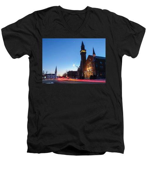 Men's V-Neck T-Shirt featuring the photograph Easthampton Crescent Moon by Sven Kielhorn