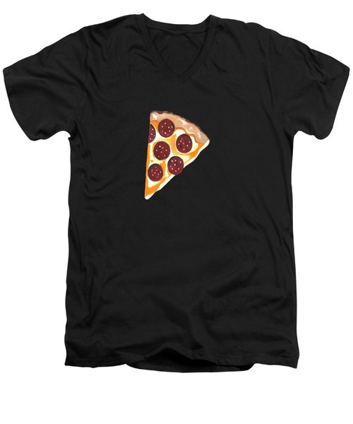 Eat Pizza Men's V-Neck T-Shirt by Kathleen Sartoris