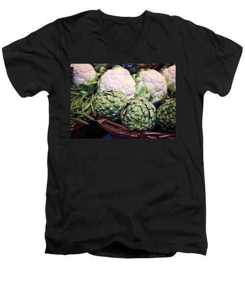 Eat Your Greens Men's V-Neck T-Shirt by Heather Applegate