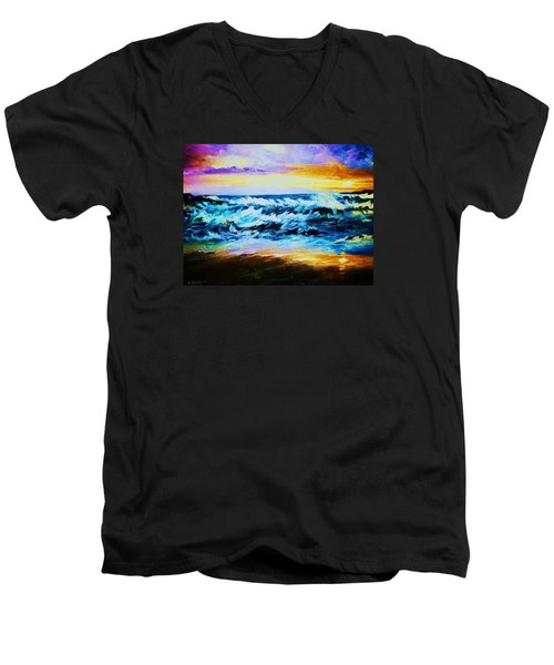 Men's V-Neck T-Shirt featuring the painting Ebb Tide At Sunset by Al Brown