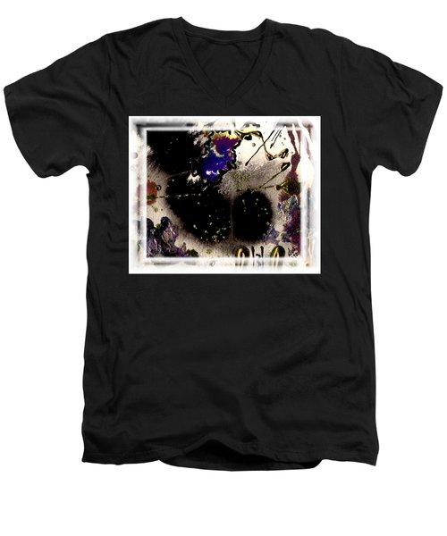 Men's V-Neck T-Shirt featuring the mixed media Ebony Nights by Angela L Walker