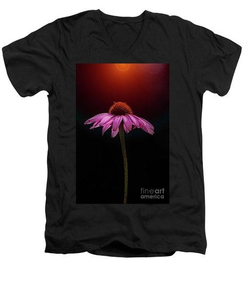 Echinacea And Sun Men's V-Neck T-Shirt