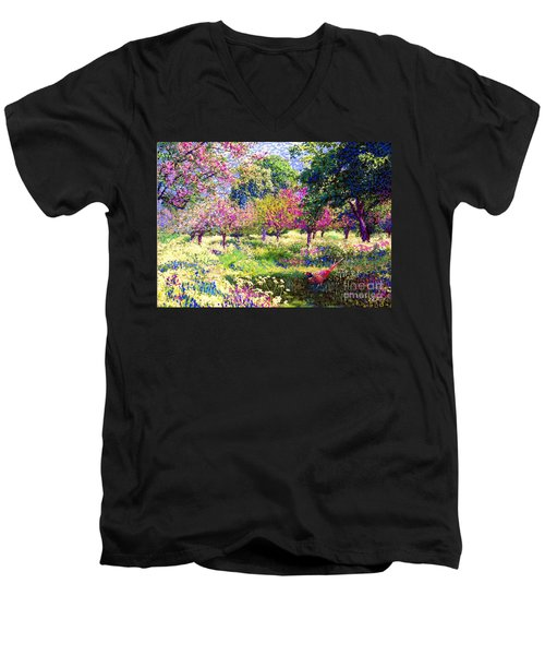 Echoes From Heaven, Spring Orchard Blossom And Pheasant Men's V-Neck T-Shirt