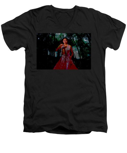 Men's V-Neck T-Shirt featuring the photograph Eerie Woods by Brian Hughes