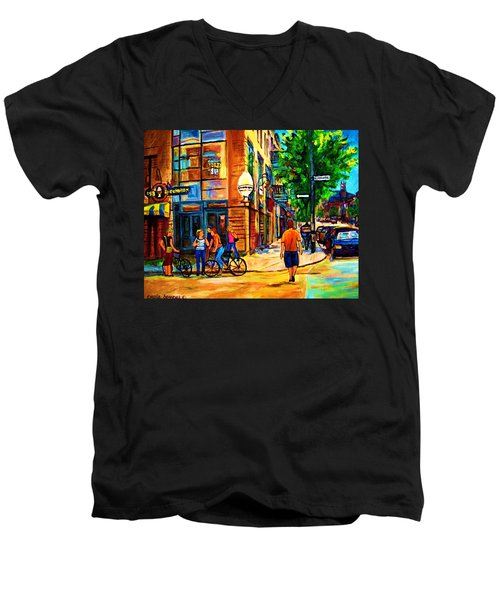 Men's V-Neck T-Shirt featuring the painting Eggspectation Cafe On Esplanade by Carole Spandau