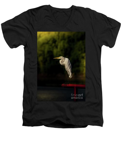 Men's V-Neck T-Shirt featuring the photograph Egret On Deck Rail by Robert Frederick