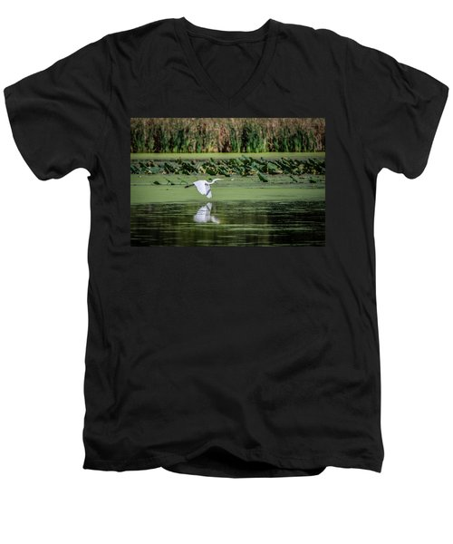Egret Over Wetland Men's V-Neck T-Shirt by Ray Congrove