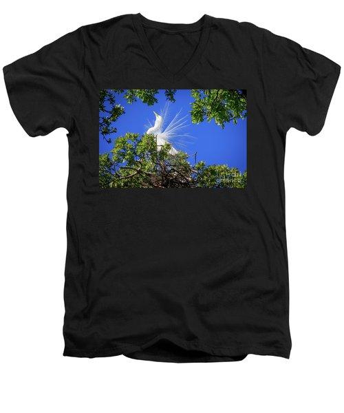 Egret Showing Off Men's V-Neck T-Shirt