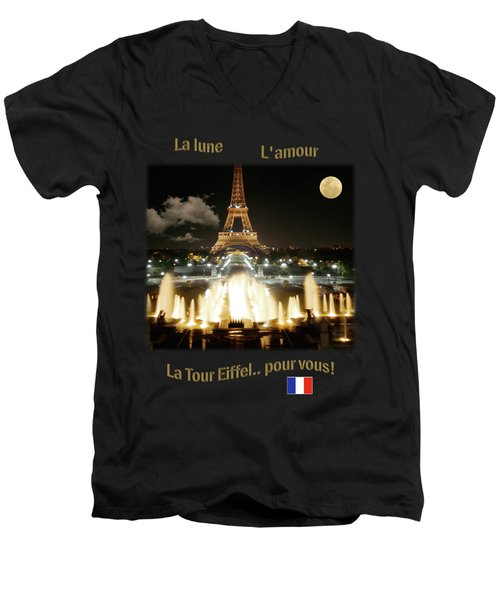 Eiffel Tower At Night Men's V-Neck T-Shirt by Jon Delorme