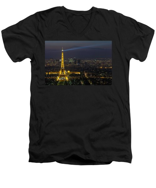 Eiffel Tower At Night Men's V-Neck T-Shirt by Sebastian Musial