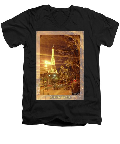 Eiffel Tower By Bus Tour Greeting Card Poster Men's V-Neck T-Shirt