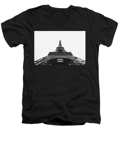 Men's V-Neck T-Shirt featuring the photograph Eiffel Tower Perspective  by MGL Meiklejohn Graphics Licensing