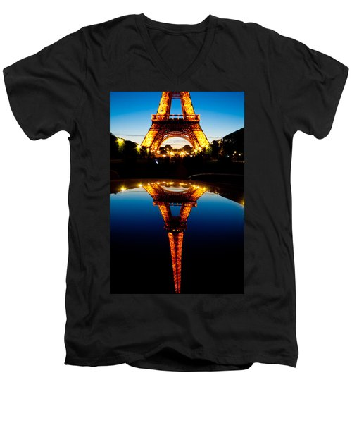 Eiffel Tower Reflection Men's V-Neck T-Shirt