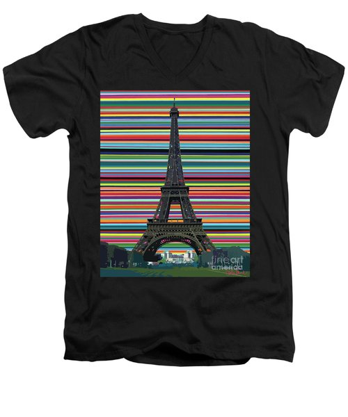 Men's V-Neck T-Shirt featuring the painting Eiffel Tower With Lines by Carla Bank