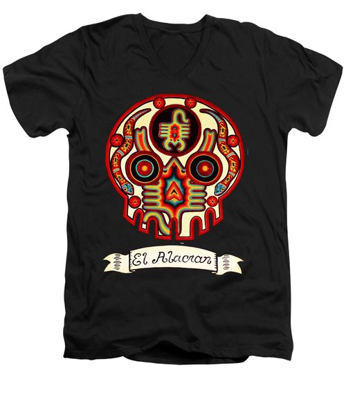 El Alacran - The Scorpion Men's V-Neck T-Shirt by Mix Luera