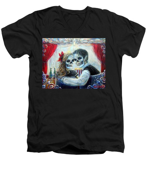 Men's V-Neck T-Shirt featuring the painting El Cine by Heather Calderon