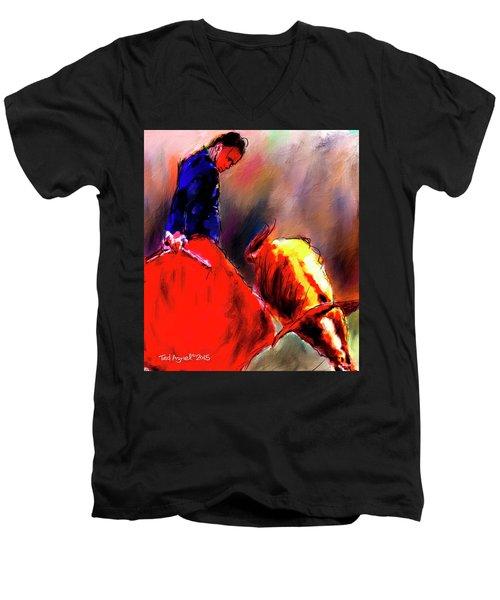 Men's V-Neck T-Shirt featuring the painting El Matador by Ted Azriel