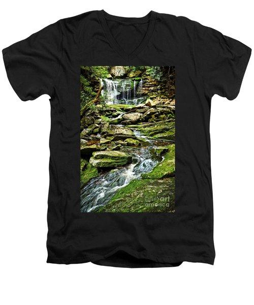 Elakala Falls At Blackwater Falls State Park Men's V-Neck T-Shirt