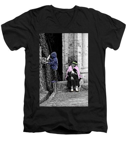 Men's V-Neck T-Shirt featuring the photograph Elderly Beggar In Biblian II by Al Bourassa