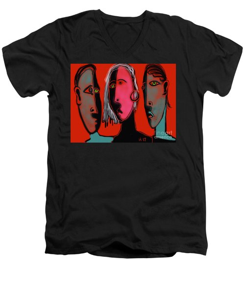 Election Reaction Men's V-Neck T-Shirt by Hans Magden