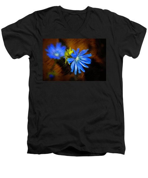Electric Blue Men's V-Neck T-Shirt