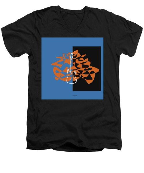 Electric Guitar In Blue Men's V-Neck T-Shirt by David Bridburg