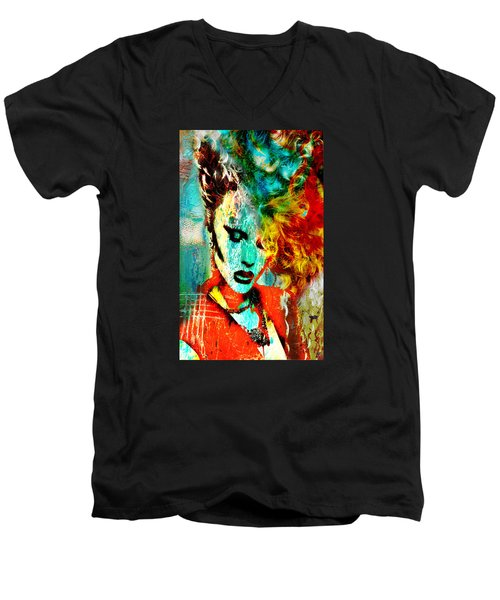 Electric Hair Men's V-Neck T-Shirt by Greg Sharpe