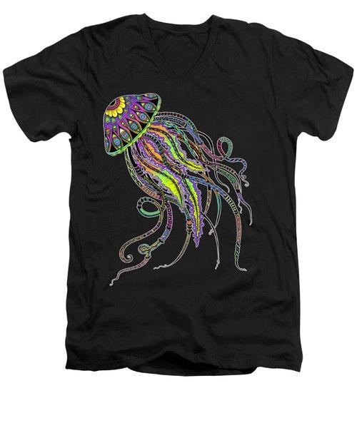 Electric Jellyfish On Black Men's V-Neck T-Shirt