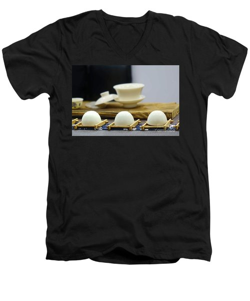 Elegant Chinese Tea Set Men's V-Neck T-Shirt by Yali Shi