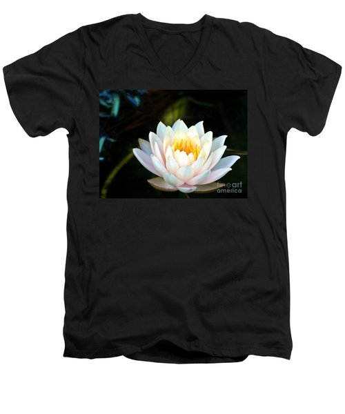 Elegant White Water Lily Men's V-Neck T-Shirt