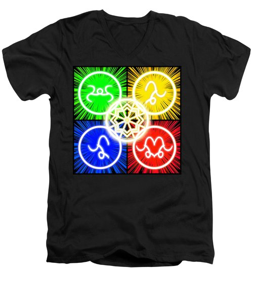 Men's V-Neck T-Shirt featuring the digital art Elements Of Consciousness by Shawn Dall