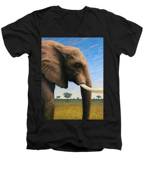 Elephant On Safari Men's V-Neck T-Shirt